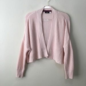 BDG Baby Pink Cropped Knit Open Cardigan Sweater